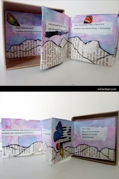 The Letters Book Box, Side Miriam Barr 2017 Poetry Art, Poetry Books, Book Boxes, Accordion Book, Blackout Poetry, Book Letters, Ink Wash, Handmade Books, Book Binding