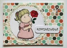 Rippipäivänä rippilapselle tytölle kortti