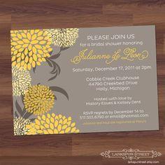 Baby Shower Invitation / Bridal Shower Invitation - Blooms - yellow, gray, grey, floral gender neutral, girl, boy, birthday (DIY printable). $14.00, via Etsy.