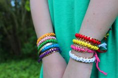 diy bracelets chain and embroidery floss