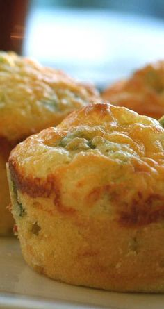 Recipe for Cheddar and Green Onion Cornbread Muffins - The only thing better than cornbread is cornbread with the cheese baked in! This recipe shows you how to make your own.