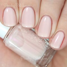 """Essie: 2015 Resort Collection """"Time For Me Time"""" is a sheer pale nude with lots of strong pink shimmer. Effortless application and very delicate. 2 coats."""