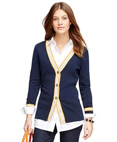 Shop women's sweaters from cashmere to cardigans to turtle necks, our fine collection offers a selection of fabrics, patterns and styles to fit your look. Boyfriend Cardigan, Brooks Brothers, Cardigans For Women, Business Casual, Preppy, Cashmere, Style Inspiration, Lady, Cotton