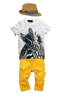 elliot, outfits, I Dream Elephants  Scotch Shrunk Hat  Finger in the Nose Zebra Shirt  Mini Rodini Yellow Cords