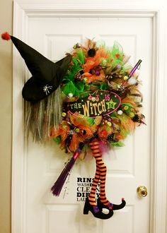 My Halloween Deco Mesh Witch Wreath 2015. Can't wait to hang it on the front door! #witchwreath #decomesh