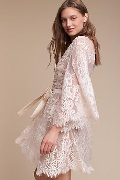 Shop our vintage-inspired bridal lingerie collection. BHLDN offers a variety of wedding lingerie perfect for your wedding night and beyond! Lace Lingerie Set, Bridal Lingerie, Lingerie Sleepwear, Nightwear, Bridal Robes Getting Ready, Robes Glamour, Wedding Night Lingerie, Honeymoon Outfits, Lingerie Collection