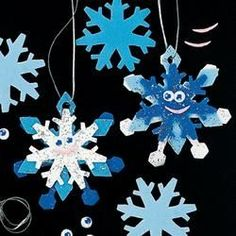 kids christmas crafts | Glittery Snowflake Ornaments 12 Pack - Kids' Christmas Crafts at ...