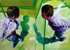 Angels - Peinture,  200x270x5 cm ©2016 par Inga Batatunashvili -                                                                                                Art figuratif, Portraiture, Toile, Enfants, Enfants, Amour / Romance, Inga Batatunashvili, Art, Oil on canvas