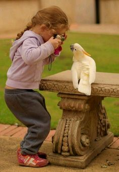 What a wonderful photo of a photo-taker and a bird posing oh so sweet. Children and animals, the most adorable pairing on earth. So cute. So Cute Baby, Cute Kids, Cute Babies, Funny Babies, Beautiful Children, Beautiful Birds, Precious Children, Beautiful Smile, I Smile
