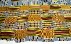 Africa | Kente Man's Wrapper Detail. Asante people. ca. 1960-80.  Cotton and rayon.