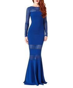 Royal blue striped panel fishtail maxi  Sale - Goddiva Sale