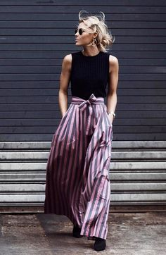Statement trousers look chic with a simple tank and minimal jewelry