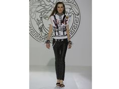 The trend: Punk Spirit  Punk went glam at Versace with luxe studded leather trousers and an abundance of accessories.
