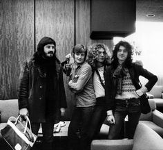 Led Zeppelin at the Heathrow Airport in London, 1975.