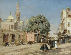 """The Market Place, Boulac, Cairo"" by John Varley II (1881)"