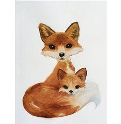 Hoi! Ik heb een geweldige listing gevonden op Etsy https://www.etsy.com/nl/listing/211576523/watercolor-fox-art-mom-cub-fox-art