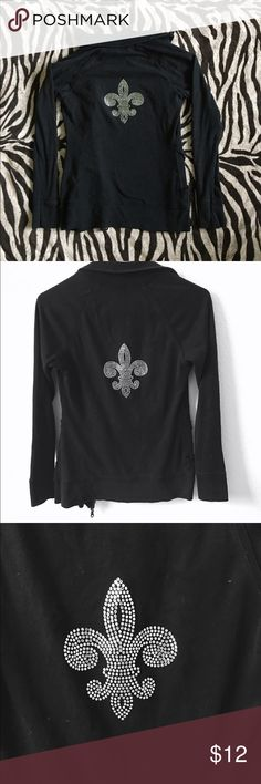Black cotton lightweight fleur-de-lis jacket Lots of bling on this small ladies cotton lightweight jacket featuring a large fleur-de-lis on back -Zipper pulls show signs of wear, the jacket is slightly faded Jackets & Coats