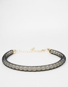 Enlarge ASOS Faux Pearl Mesh Choker Necklace