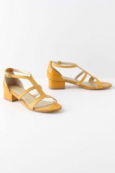 Anthropologie Aubade Heels Sz 7 & 10, Yellow Patent Leather Sandals, Seychelles #Seychelles #OpenToe