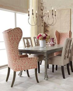 stunning table and chairs ~ beautiful chandelier ~such a captivating space❀ ~  ◊  photo via 'julea joseph' at 'reinventing space' facebook page