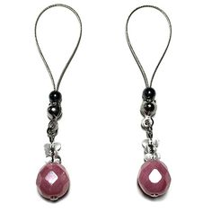 Nipple Noose Rings Czech Glass Faceted Round Marble Pink #nipplerings #nipples #nipplenoose #bodivas