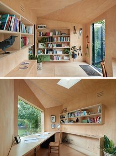 This Backyard Home Office Covered In Ivy Was Designed For A Creative Writer Plywood Desk, Plywood Walls, Workshop Shed, Plywood Interior, Garden Cabins, Backyard Office, Large Desk, Engineered Wood Floors, Concrete Slab
