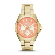 Gold and coral fossil watch.