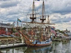 The Kalmar Nyckel docked at the City of Lewes, Delaware.
