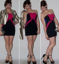 Look balada: como usar vestido tomara-que-caia com sandália schutz de salto alto de spikes e jaqueta de couro metalizada. Look do dia no blog de moda