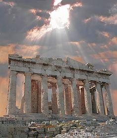 Sunburst Over The Acropolis, Greece.