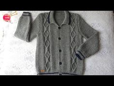Sweater with Rombos for men (PART 1 of Man Parts, Pulls, Crochet Baby, Youtube, Knitting, Sweaters, Jackets, Fashion, Nightgown