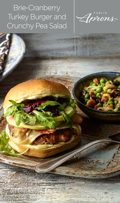 Reboot your boring turkey burger with Granny Smith apple slices, Deli Brie cheese, turkey bacon, and arugula leaves. Keep rebooting with a crunchy pea salad loaded with peanuts and cranberries to complete the Brie-Cranberry Turkey Burger and Crunchy Pea Salad makeover from Publix Aprons.