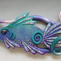 Custom: Alaskan Fish Wall Art in Blue, Purple, Violet and Pearl Polymer Clay. Earth Charity 100%