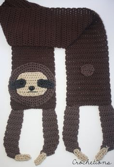 Crochet PATTERN - Sloth Scarf / Animal Scarf, Crochet Animal Patterns, Neck…