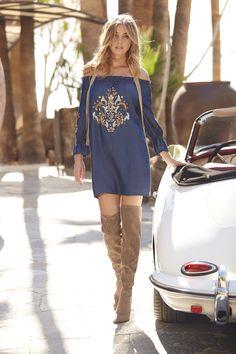 Trending Fashion | Women's Denim Embellished Off-The-Shoulder Dress by Boston Proper.
