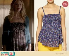 Caroline's floral babydoll top on The Vampire Diaries.  Outfit details: http://wornontv.net/13708/