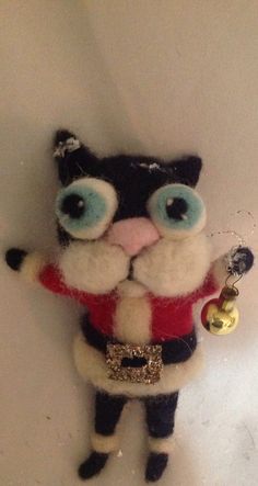 Santa Kitty ornament  Ooak needle felted art by papermoongallery