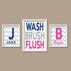 Brother Sister Bathroom Wall Art Boy Girl Bathroom Monogram Personalized Name Navy Blue Hot Pink WASH Brush Flush Set of 3 Chevron Bathroom by TRMdesign on Etsy https://www.etsy.com/listing/205668328/brother-sister-bathroom-wall-art-boy