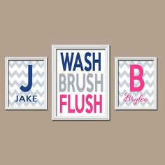 Brother Sister Bathroom Wall Art Boy Girl Bathroom Monogram Personalized Name Navy Blue Hot Pink WASH Brush Flush Set of 3 Chevron Bathroom by TRMdesign on Etsy https://www.etsy.com/listing/205668328/brother-sister-bathroom-wall-art-boy
