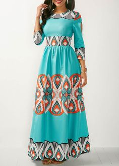 long and nice Three Quarter Sleeve Printed Maxi Dress. African Print Dresses, African Fashion Dresses, African Dress, Dress Fashion, African Attire, African Wear, African Print Fashion, Maxi Dress With Sleeves, Mode Style