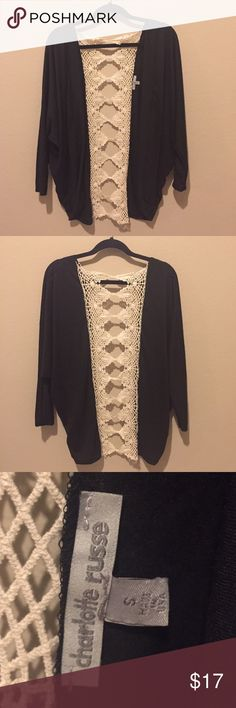 🔥Black crochet kimono Super cute black kimono or very light cardigan, with beautiful cream crochet cutout detail in back. Perfect for summer, just add a crop top and your favorite high waisted shorts ;) Charlotte Russe Sweaters Cardigans