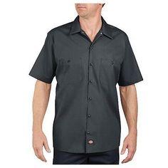 Dickies LS535CH 3X Men's Charcoal Poly/Cotton SS Industrial Work Shirt - 3XL