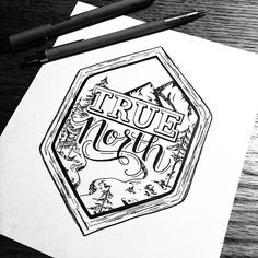 True North logo hand drawn in shape elongated hexagon hand lettered cursive calligraphy serif font mountains trees wilderness black and white black ink on white background stamp wood detailed border by dilger, elise c. Typography Love, Graphic Design Typography, Lettering Design, Typo Logo, Graphic Art, Web Design, Design Art, Typographie Inspiration, Identity