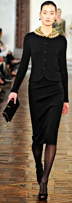 a totally different but just as classy outfit for Church. add a hat & you're ready to go! & this suit would be right at a funeral, a dinner, an office (depending on the job & occasion), at court - just change accessories. (Ralph Lauren F/W 2012)