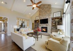 Love the ceiling and fireplace! #greatroom homechanneltv.com