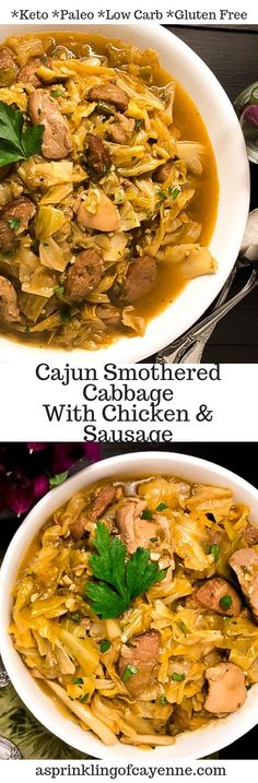 Paleo, grain free, gluten free, keto and low carb Cajun Smothered Cabbage with Chicken and Sausage. A zesty one-pot meal featuring Cajun marinated chicken thighs, green onion sausage and fresh cabbage. Paleo Recipes, Low Carb Recipes, Cooking Recipes, Cajun Recipes, Simple Recipes, Pork Recipes, Yummy Recipes, Marinated Chicken Thighs, Chili