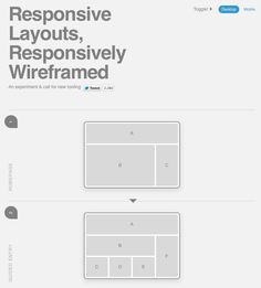 From: http://www.thismanslife.co.uk/projects/lab/responsivewireframes/    Nice experiment to quickly toggle desktop and mobile versions of a wireframe.