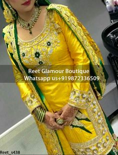 Mesmeric Yellow And Green Hand Embroidered Punjabi Suit Product Code : Em_438 To Order, Call/Whats app On +919872336509 We Offer Huge Variety Of Punjabi Suits, Anarkali Suits, Lehenga Choli, Bridal Suits,Sari, Gowns Etc .We Can Also Design Any Suit Of Your Own Design And Any Color Combination.