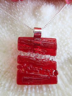 Fused glass pendant, fused glass jewelry, art glass - Red textured pendant