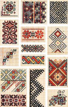 Cross Stitch Borders, Modern Cross Stitch Patterns, Cross Stitch Charts, Cross Stitch Designs, Folk Embroidery, Hand Embroidery Designs, Embroidery Stitches, Embroidery Patterns, Motifs Blackwork